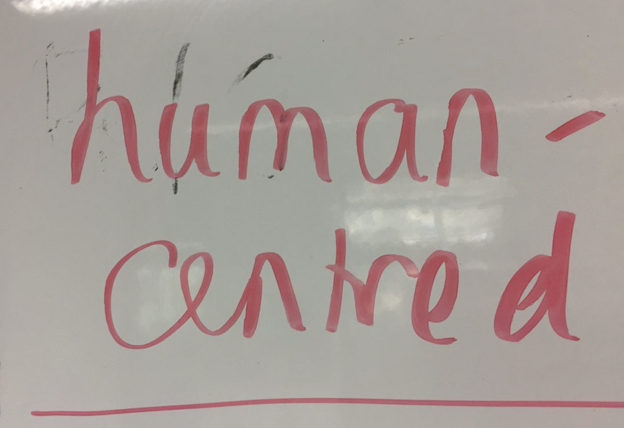 "Whiteboard text that says ""human-centred"""