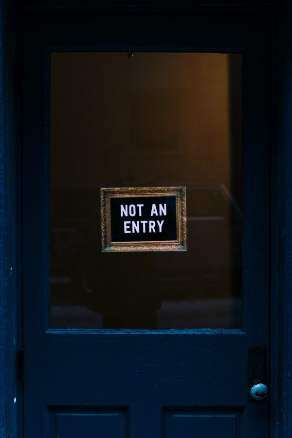 Door with closed sign